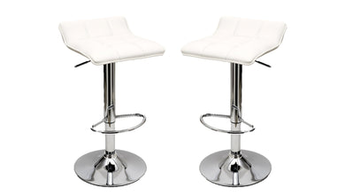 Manhattan Comfort Sleek Varick Barstool with Height Adjustability in White -Set of 2