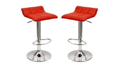 Manhattan Comfort Sleek Varick Barstool with Height Adjustability in Red -Set of 2