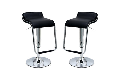 Manhattan Comfort Sophisticated Horatio Barstool with a Hanging Footrest in Black -Set of 2