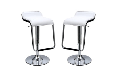 Manhattan Comfort Sophisticated Horatio Barstool with a Hanging Footrest in White -Set of 2