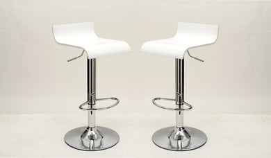 Manhattan Comfort Practical Ludlow Barstool with Height Adjustability in White -Set of 2