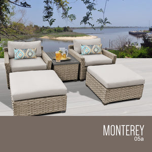 Monterey 5 Piece Outdoor Wicker Patio Furniture Set 05a