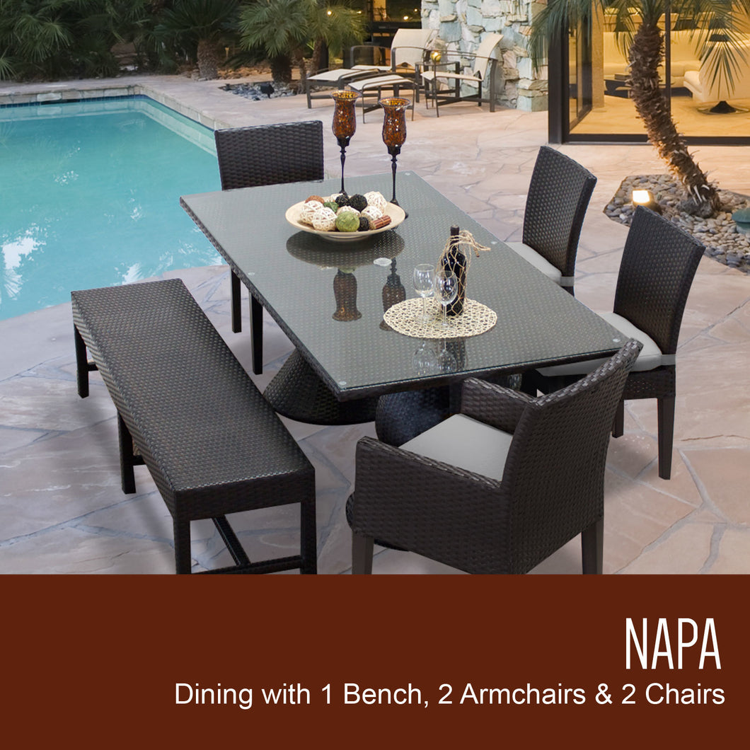 Napa Rectangular Outdoor Patio Dining Table With 4 Chairs and 1 Bench