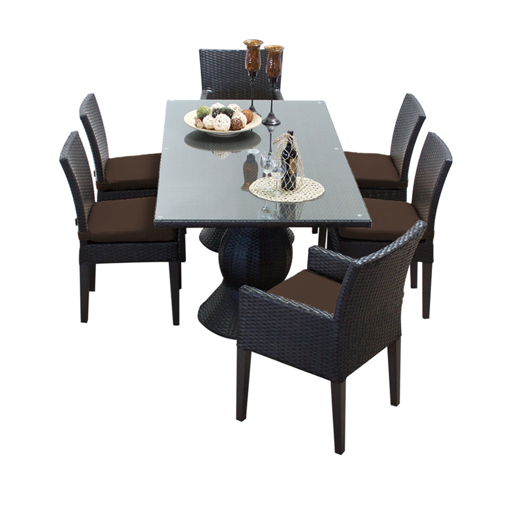 Napa Rectangular Outdoor Patio Dining Table with 4 Armless Chairs and 2 Chairs w/ Arms