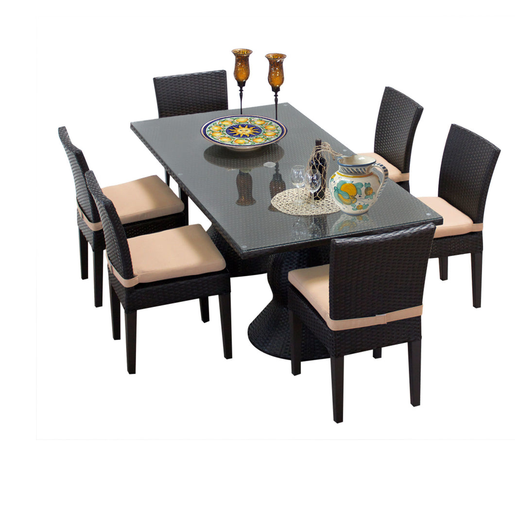 Napa Rectangular Outdoor Patio Dining Table with 6 Armless Chairs