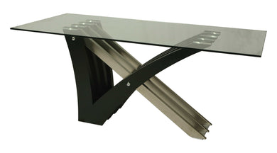 Akasha Rectangular Dining Table, Stainless Steel/Wenge Veneer