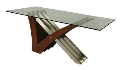 Akasha Rectangular Dining Table, Stainless Steel/Walnut Veneer