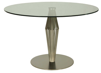 Alexandria Round Dining Table, Stainless Steel