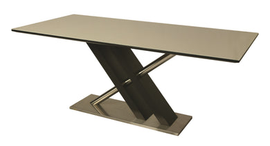 Charlize Rectangular Dining Table, Stainless Steel/Wenge Veneer