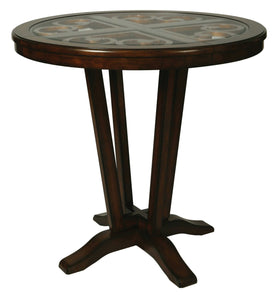 "Devon Coast Pub Table, 40"" Bar Height, Distressed Cherry/42"" Round Wood Top w/Glass Insert"