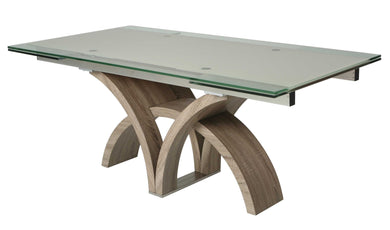 Fountain Valley Extendable Dining Table, Stainless Steel/Sonoma Veneer