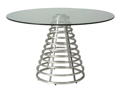 Fuego Maya Round Dining Table, Stainless Steel