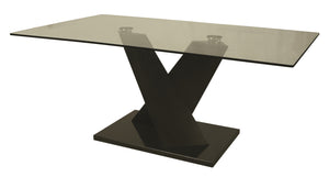 Hudson Valley Rectangular Dining Table, Black Veneer/Black Marble