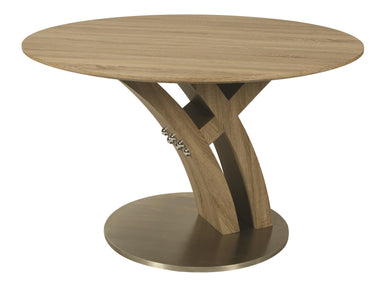 Quanto Basta Round Dining Table, Stainless Steel/Sonoma Veneer