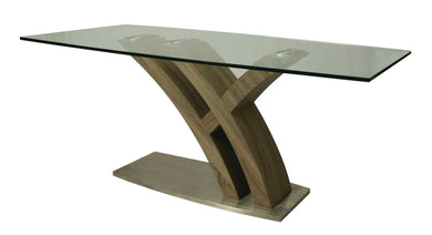 Quanto Basta Rectangular Dining Table, Stainless Steel/Sonoma Veneer