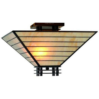 Tiffany-style Mission Semi-flush Ceiling Fixture