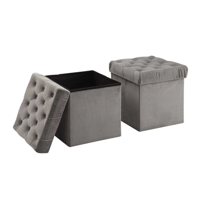 Foldable Storage Ottoman Cube Foot Rest, Grey (2 Pack)