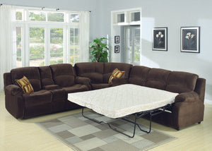 Tracey 3-Piece Transitional  Sectional with Queen Sofa Bed and Reclining Love Seat with Storage Console