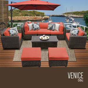 Venice 8 Piece Outdoor Wicker Patio Furniture Set 08c