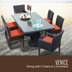 Venice Rectangular Outdoor Patio Dining Table with with 4 Armless Chairs and 2 Chairs w/ Arms