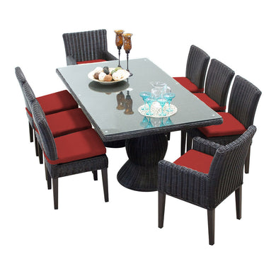 Venice Rectangular Outdoor Patio Dining Table with with 6 Armless Chairs and 2 Chairs w/ Arms