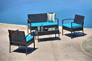 W Unlimited Teaset Collection Outdoor Garden Black Wicker Conversational Furniture 4PC set w/ Table Blue Cushion