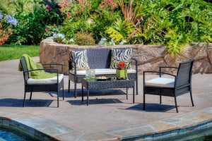 W Unlimited Teaset Collection Outdoor Garden Black Wicker Conversational Furniture 4PC set w/ Table Beige Cushion