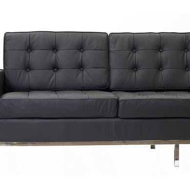 Knoll Style Couch Black Leather