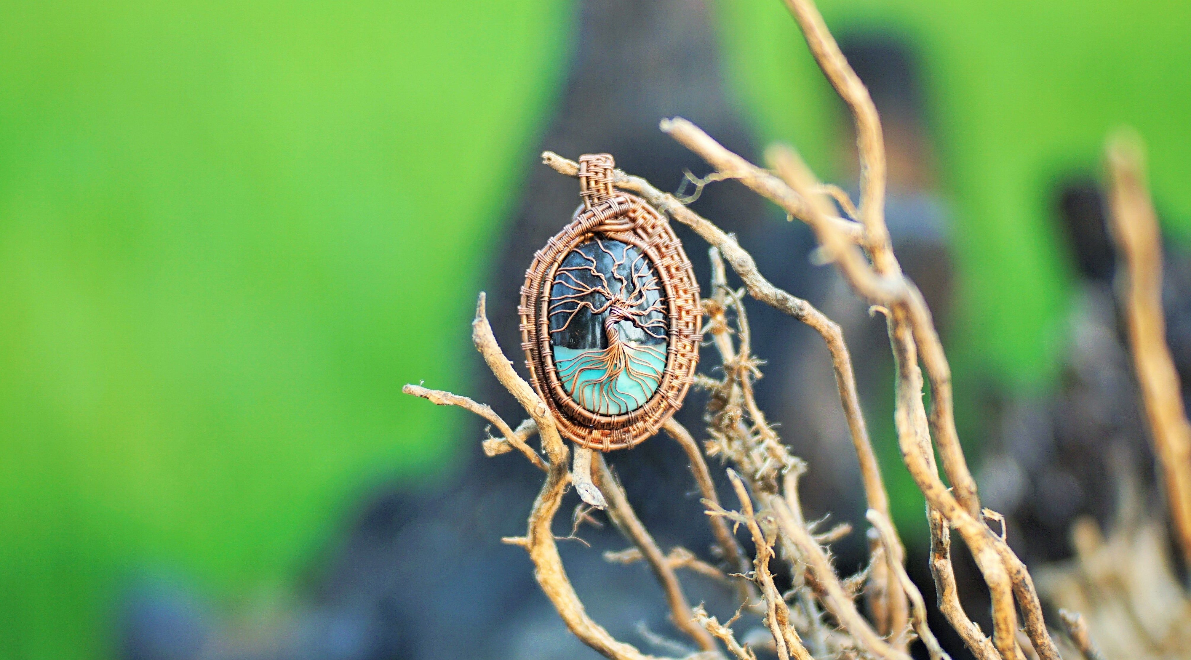 Blue Opal Wire Wrapping Pendant Jewelry - INDOMINERAL