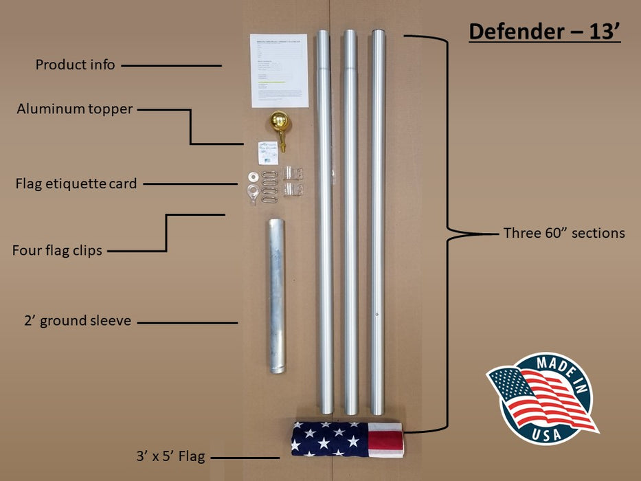 13 ft. Flagpole Labeled Parts