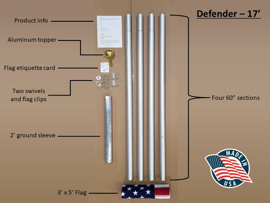 17 ft. Flagpole Labeled Parts