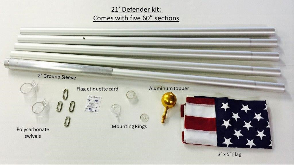 21 ft. Flagpole Labeled Parts