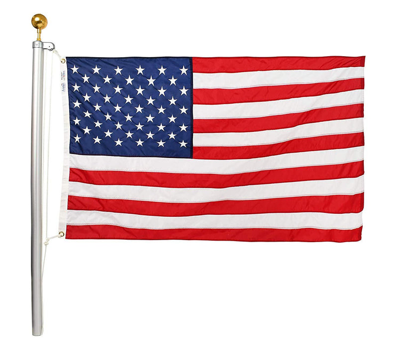 100% USA-Made Classic Flagpole Kit with Rope and Pulley