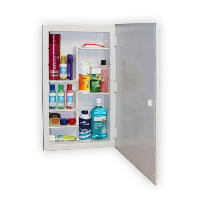 Filled medicine cabinet with mirror