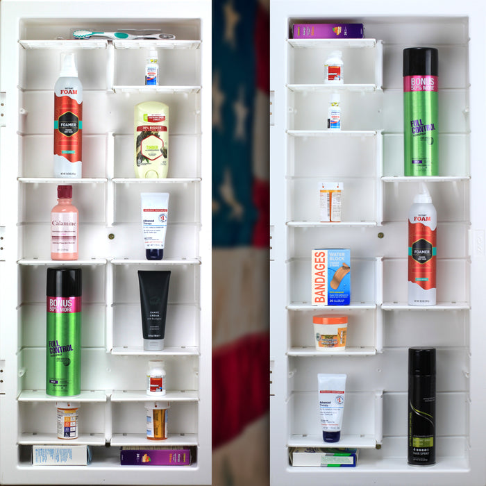 "Model# 22-2-36-00 Beveled Edge Medicine Cabinet with 12 Shelves (16"" x 36"" x 3.5"")"
