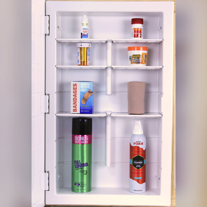 "Model# 12-1-26-01 White Frame Medicine Cabinet with 6 Shelves (16"" x 26"" x 3.5"")"