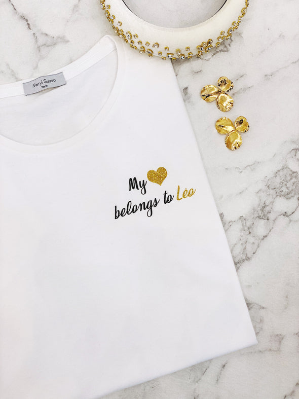 "Pack Duo T-Shirts ""My heart belongs to"" édition limitée Saint Valentin"