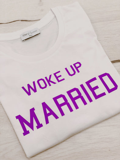 "T-Shirt Femme ""Woke Up Married"" Purple"
