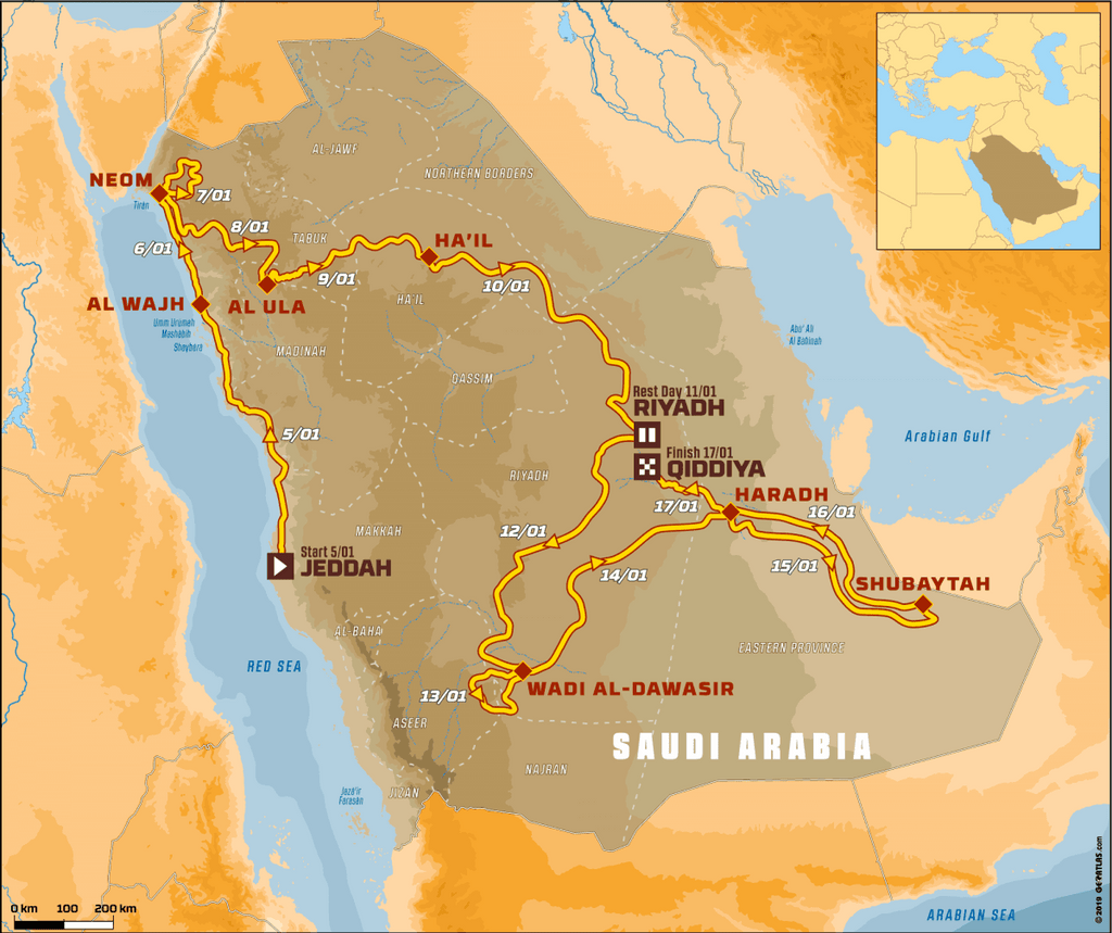 Dakar Rally 2020 Saudi Arabia map route
