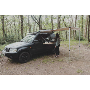 Expedition Pull-out 2mx2m Forest Green Vehicle Side Awning with Full Tent Setup