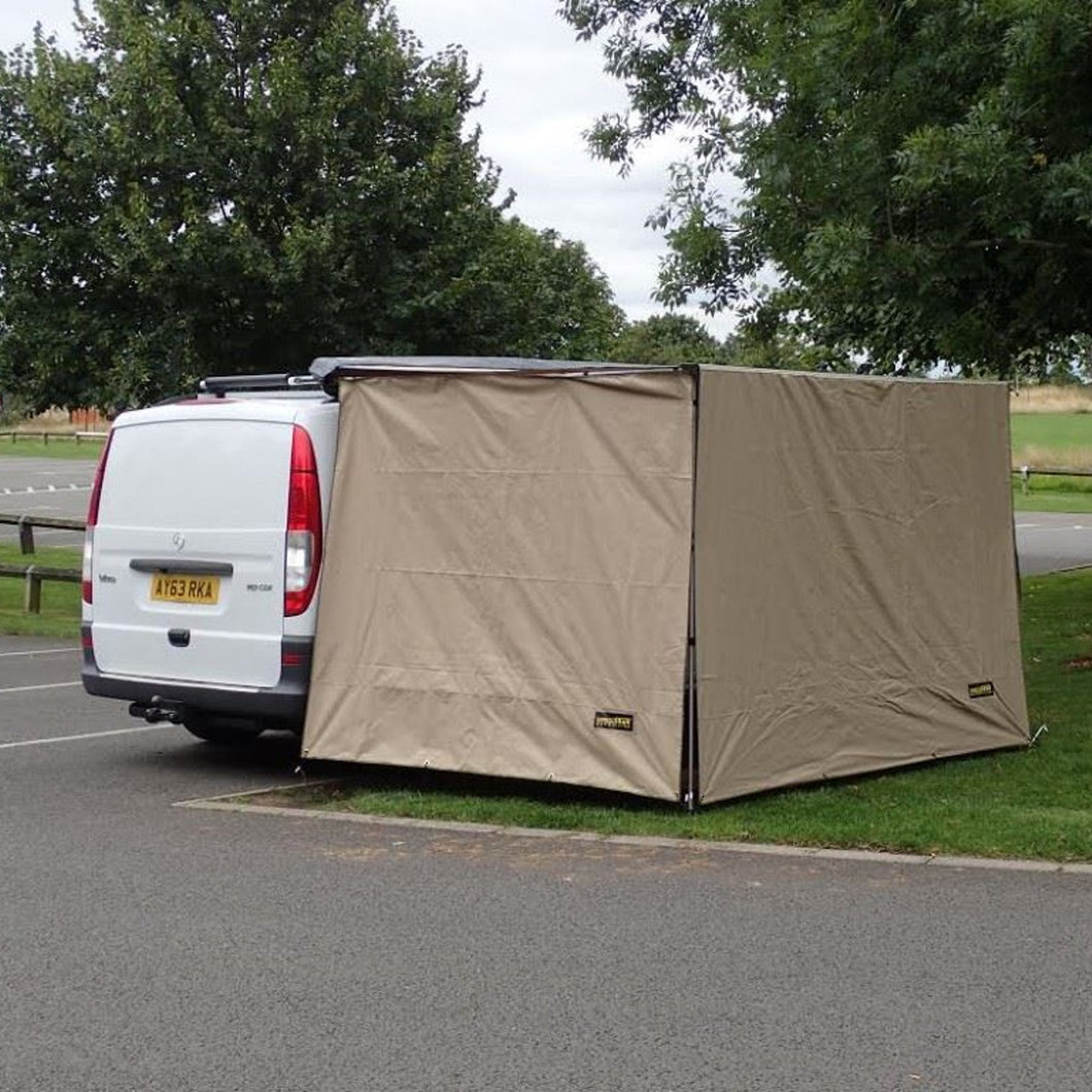Direct4x4 Expedition Pullout Awning 2mx1.8m Sand Yellow Side Wall Windbreak