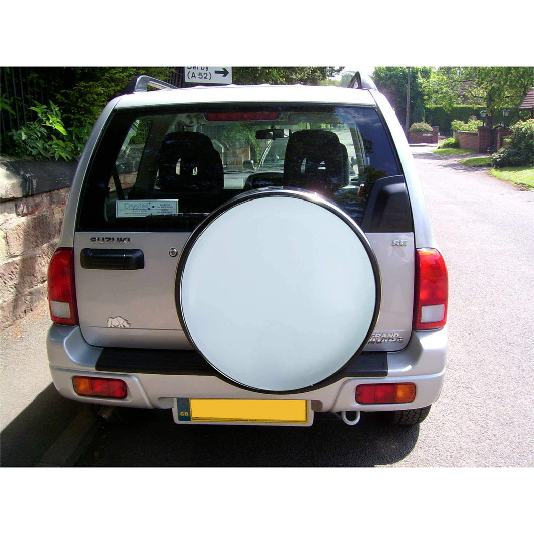 White and Stainless Steel Wheel Cover