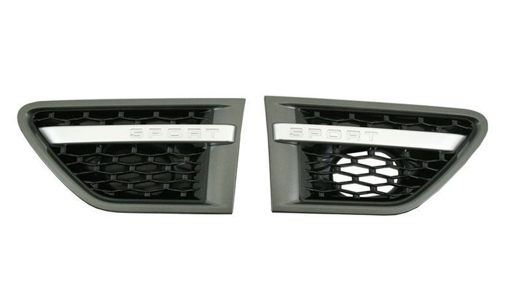 Grey Frame Black Mesh & Silver Strip Side Vent Grille for Range Rover Sport 2010-2013