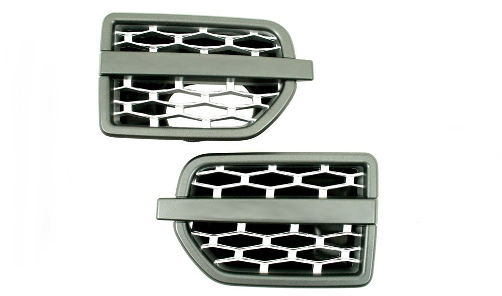 Side Vents Grey Frame and Silver Mesh ABS Plastic for Land Rover Discovery 4