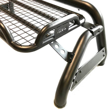 Black Short Arm Roll Sports Bar with Cargo Basket Rack for the Renault Alaskan
