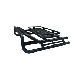 Black Long Arm Roll Sports Bar with Cargo Basket Rack for the Toyota Hilux