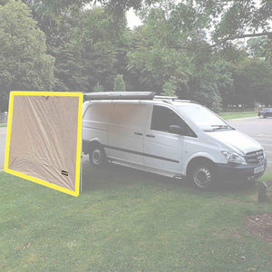 Direct4x4 Expedition Pullout Awning 2mx1.8m Sand Yellow Front Windbreak Wall