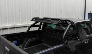 Black Short Arm Roll Sports Bar with Cargo Basket Rack for the Ford Ranger 2012+
