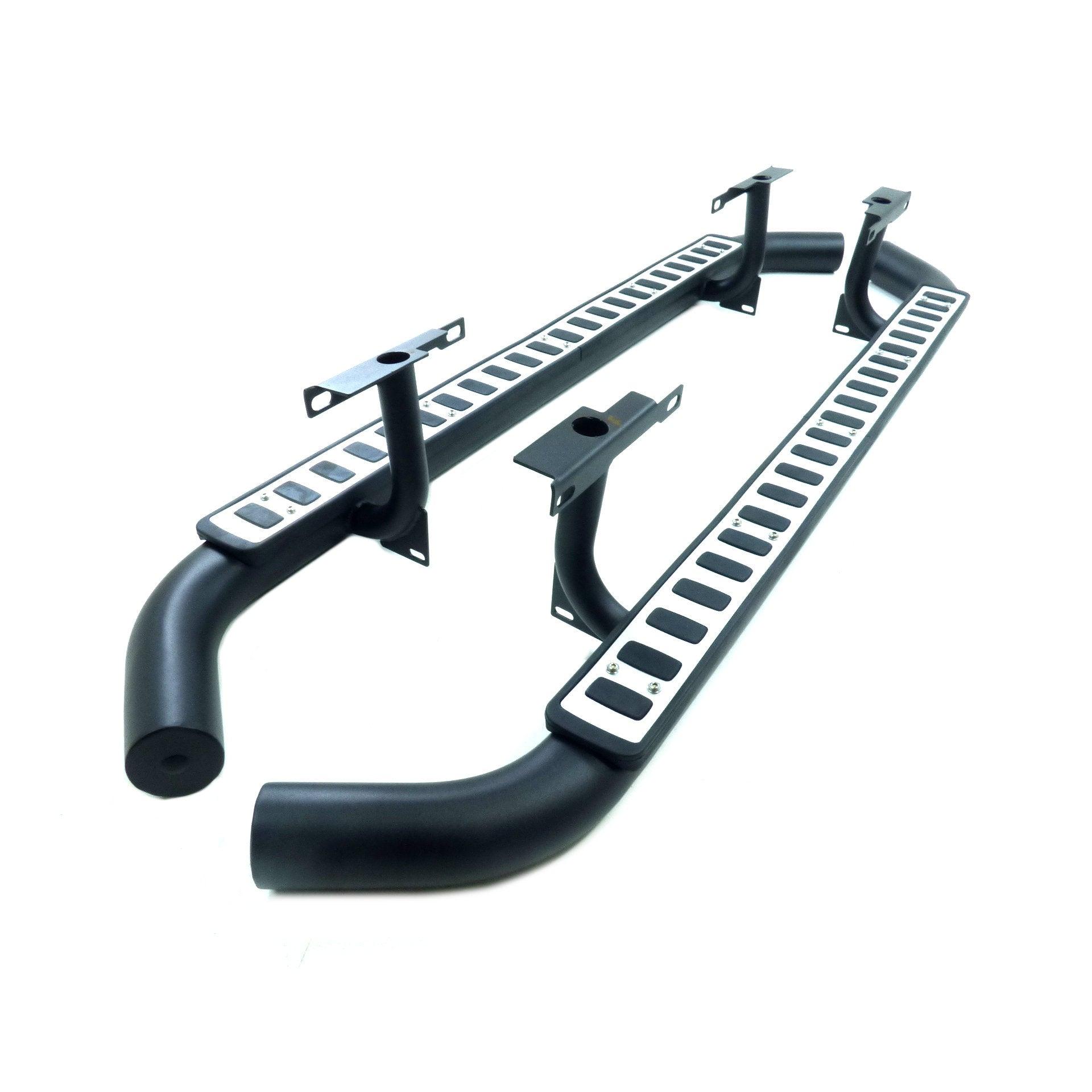 Tubular Side Steps Black//Silver New Fire/&Ice Style fits Land Rover Defender 110