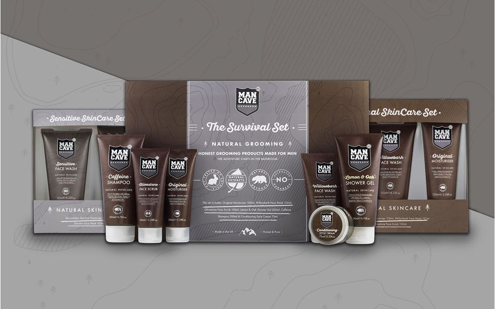 A title image depicting (from left to right) ManCave Sensitive Skincare set, ManCave Survival Set and ManCave Original Skincare set